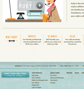 Ruby Receptionist web page