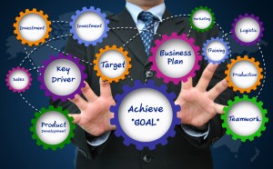 Picture of person connecting goals, drivers, targets and plans