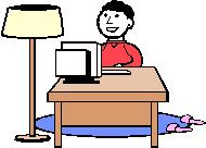 Person working at desk - cartoon