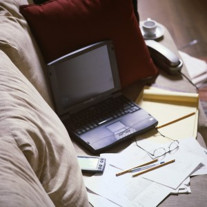 Papers, work on couch