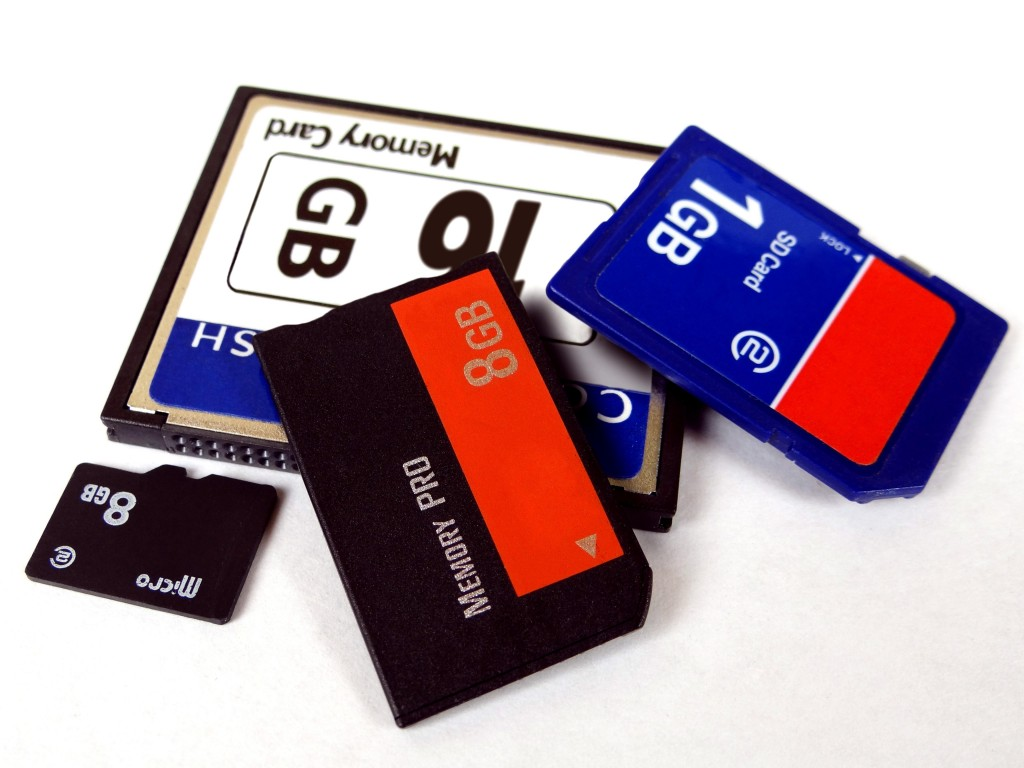 Data storage memory cards