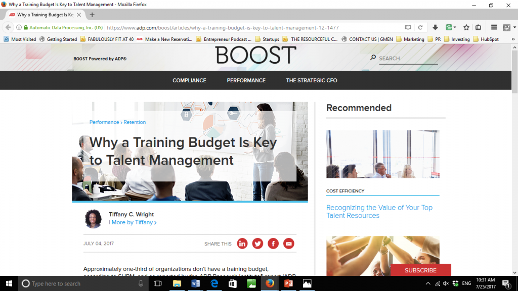 Training budget and talent management