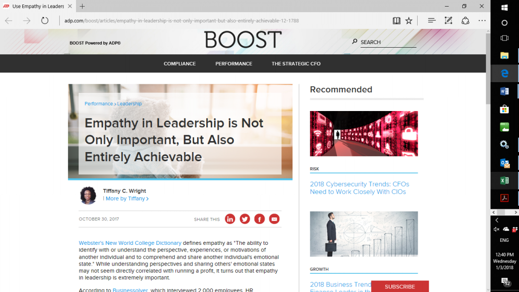 Effective leadership via ADP's Empathy in Leadership article