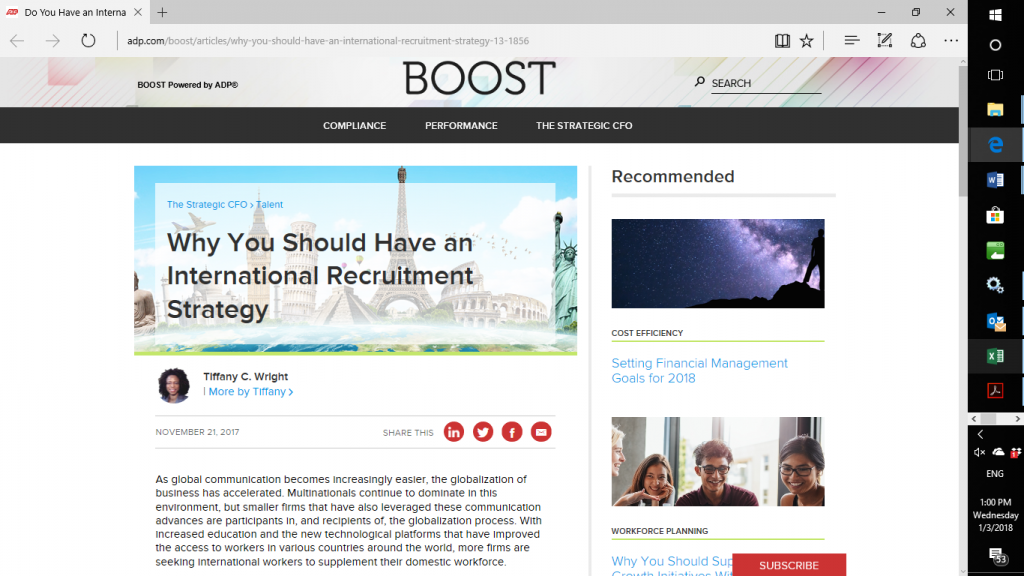 An international recruitment strategy for effective leadership